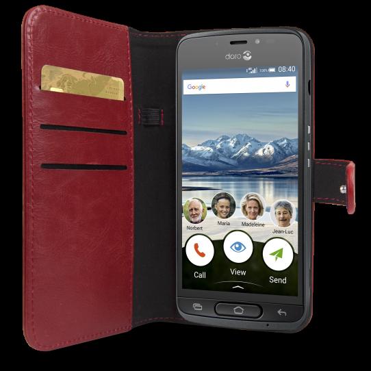 Doro 8040 Red Wallet Case-9970